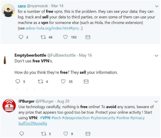 utilisateurs à propos des VPN gratuits